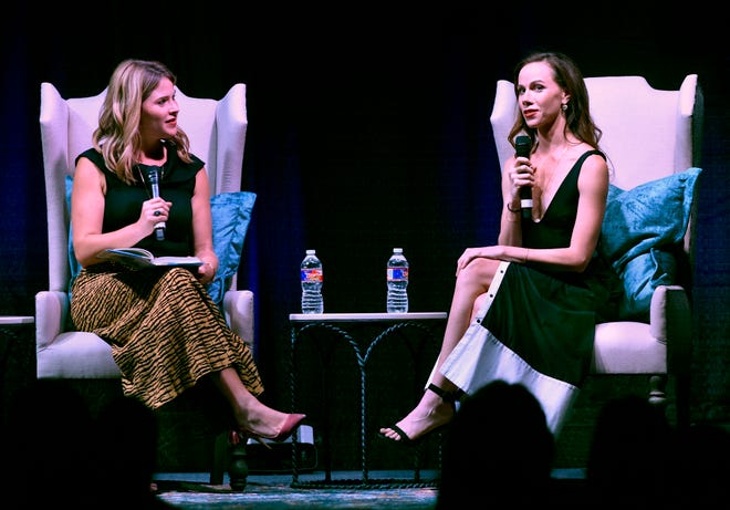 Sisters Jenna Bush Hager (left) and Barbara Pierce Bush talk about their famous parents and grandparents Wednesdayat the Abilene Convention Center. The women are the daughters of George W. and Laura Bush. They spoke during the Sisters First Dinner, an event for the Texas Tech University Health Sciences Center Laura W. Bush Institute for Women's Health.