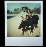 Federico, padre de Blanca Ramírez, posa junto a una vaca en su rancho, años antes de que la fábrica de acero fuera construída.