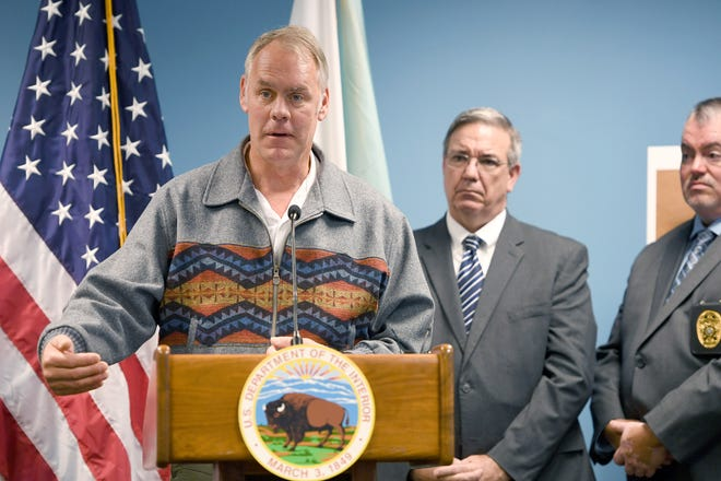 U.S. Secretary of the Interior Ryan Zinke speaks during a press conference announcing the success of a federal opioid reduction task force initiative that led to 76 drug-related arrests in and around the Qualla Boundary of the Eastern Band of Cherokee at the Veach Baley Federal Building on Sept. 27, 2018.