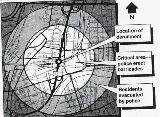 A map showing the accident and evacuation areas in Binghamton in 1984.