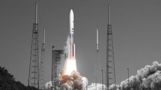 Artist rendering of United Launch Alliance's Vulcan rocket blasting off from Launch Complex 41 at Cape Canaveral Air Force Station.