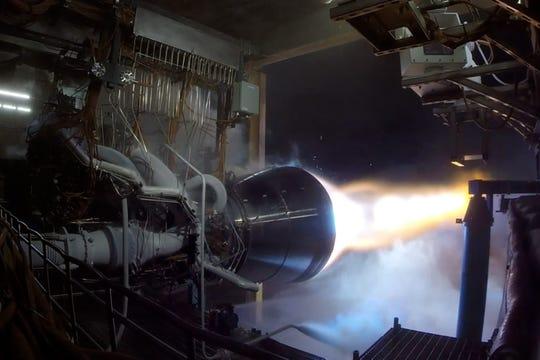 A test-firing of Blue Origin's liquid methane-fueled BE-4 rocket engine.