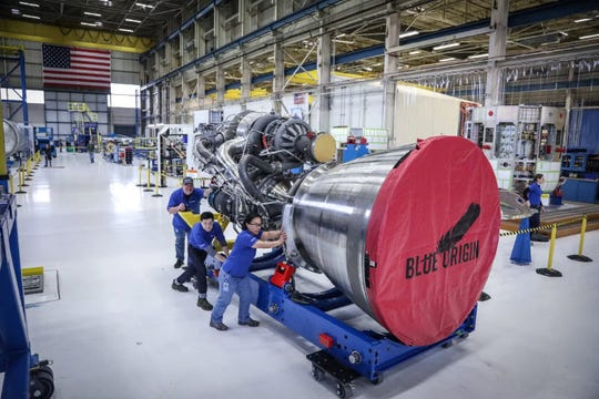 Blue Origin's liquid methane-fueled BE-4 rocket engine.