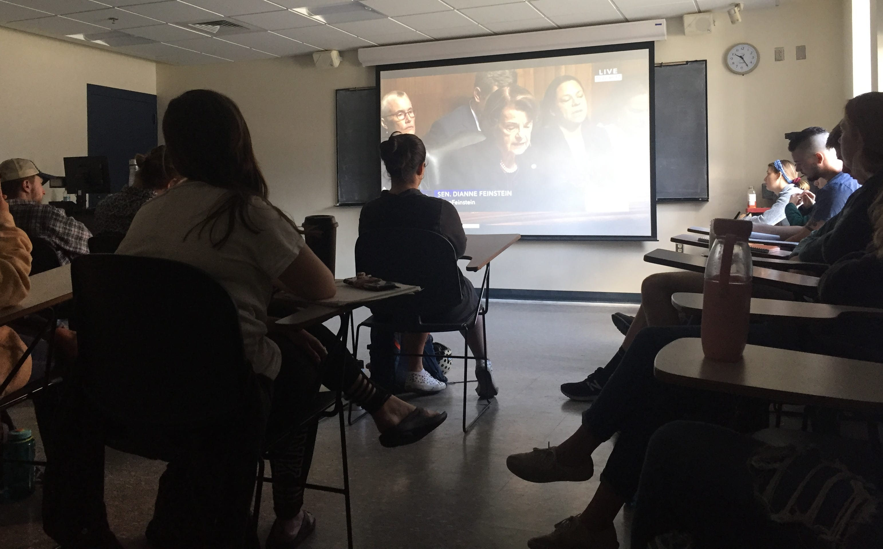 UVM students watch the beginning of the Kavanaugh hearing on Sept. 27, 2018.