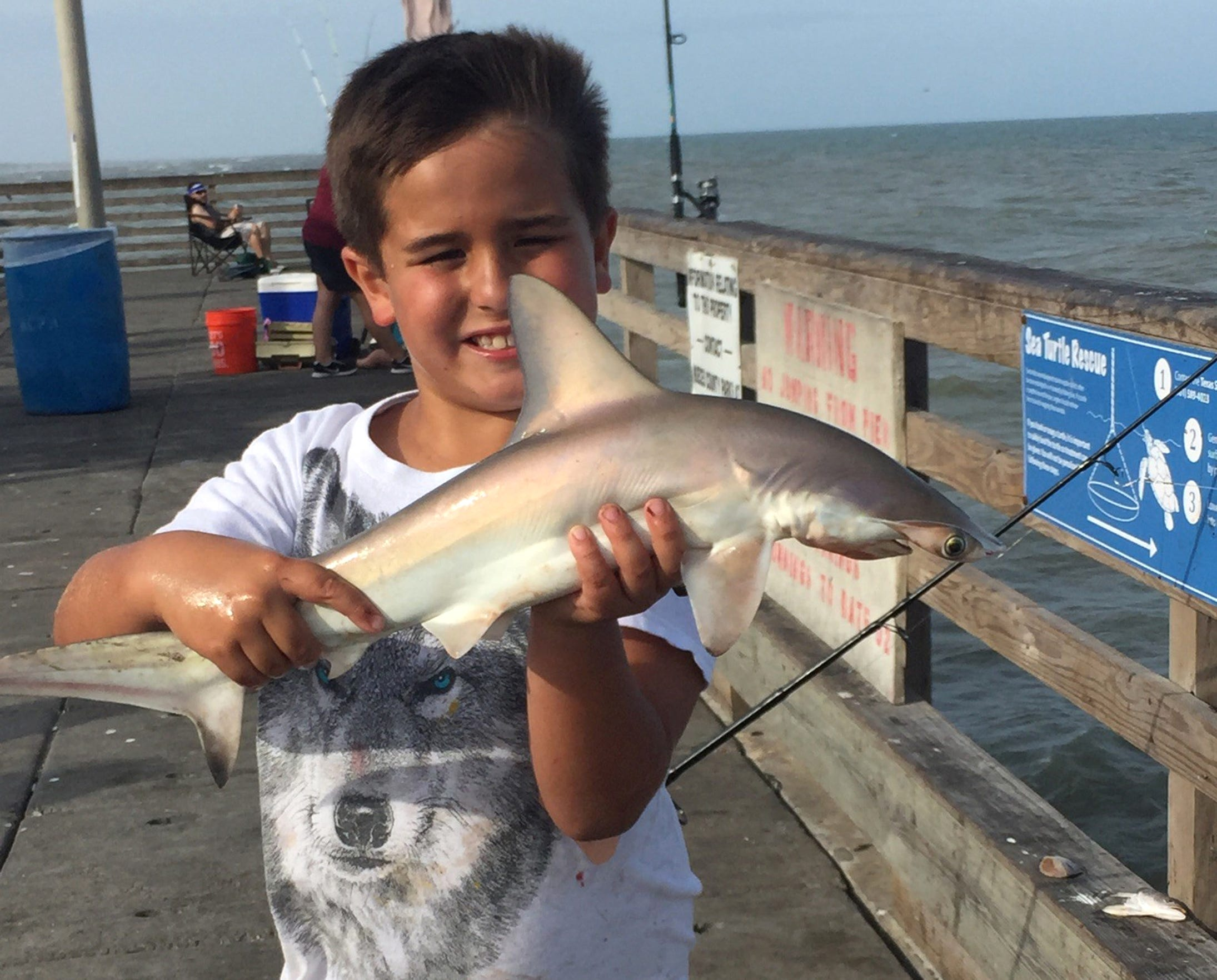 This is an early shot of Jacob with a shark caught from a local pier.
