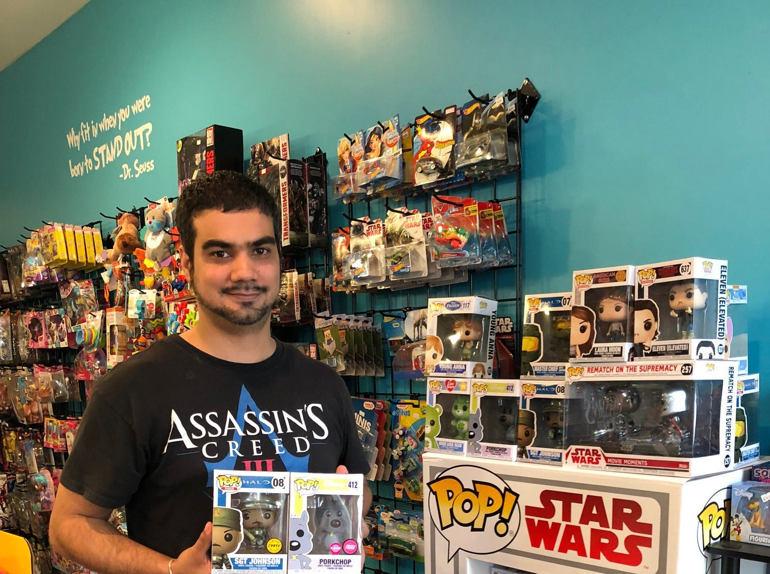 Manuel Senquiz shows some of the Funko POP! figures that are a must-have for many collectors.