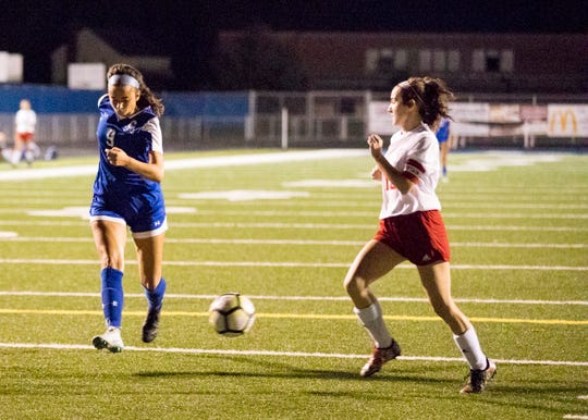 Chillicothe's Addie Erslan dribbles the ball past Zane Trace's Gracie Dunkie in a 5-1 win over the Pioneers in 2018. Erslan is looking to build off of last season's performance.