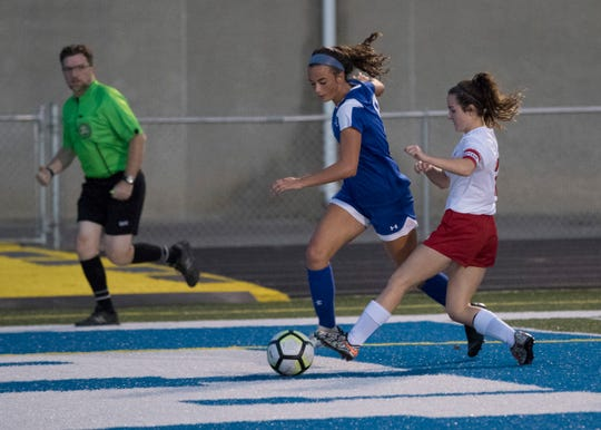Chillicothe's Addie Erslan dribbles the ball in a 5-1 win over Zane Trace in 2018. Erslan went on to win the FAC Player of the Year award in 2018.