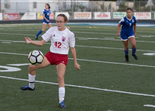 Zane Trace's Haynna Addy receives a pass in a game against Chillicothe High School at the Herrnstein Field at Obadiah Harris Family Athletic facility in 2018. Addy has been one of the best soccer players in the Scioto Valley.