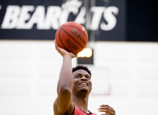 Cincinnati Bearcats forward LaQuill Hardnett (11) shoots before Cincinnati Men's Basketball practice on Thursday, Sept. 27, 2018, in Cincinnati.