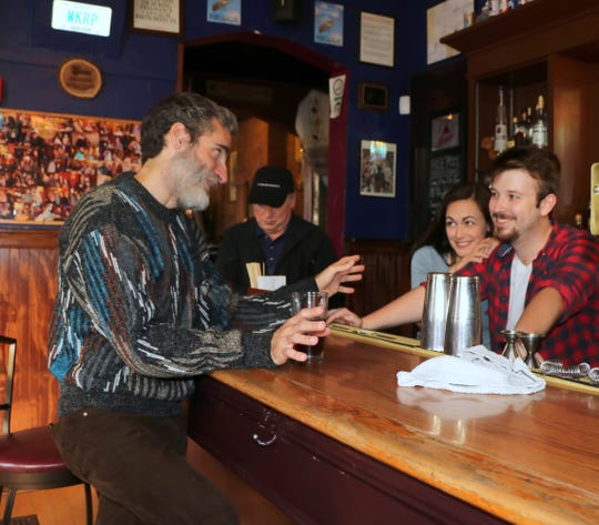 """From left, Ted J. Weil, Terry Gosdin, Becca Howell and Kyle Daniels make up the entire cast of the Falcon Theatre's production of Steven Dietz's """"Yankee Tavern,"""" running Sept. 28-Oct. 13."""