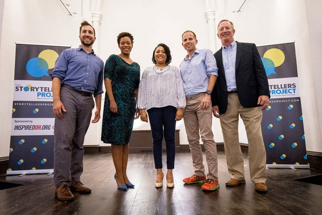 The five tellers of the Enquirer's Cincy Storytellers event pose for a photo at the Transept Wednesdday, September 26, 2018 in Cincinnati, Ohio.