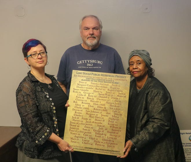 From left to right: Reverend Karen G. Johnston, local historian Richard Walling and May Caldwell.