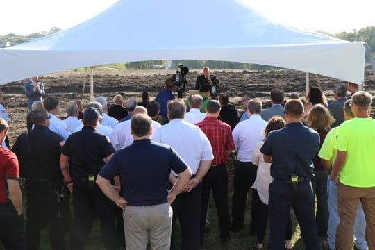 Officials from Clive and Urbandale break ground on Thursday, Sept. 20, 2018 on the new shared fire station 15100 Meredith Drive.