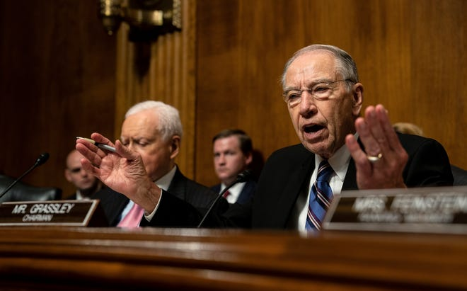Sen. Chuck Grassley, R-Iowa., talks during a Senate Judiciary Committee hearing with Christine Blasey Ford, Thursday, Sept. 27, 2018, on Capitol Hill in Washington.