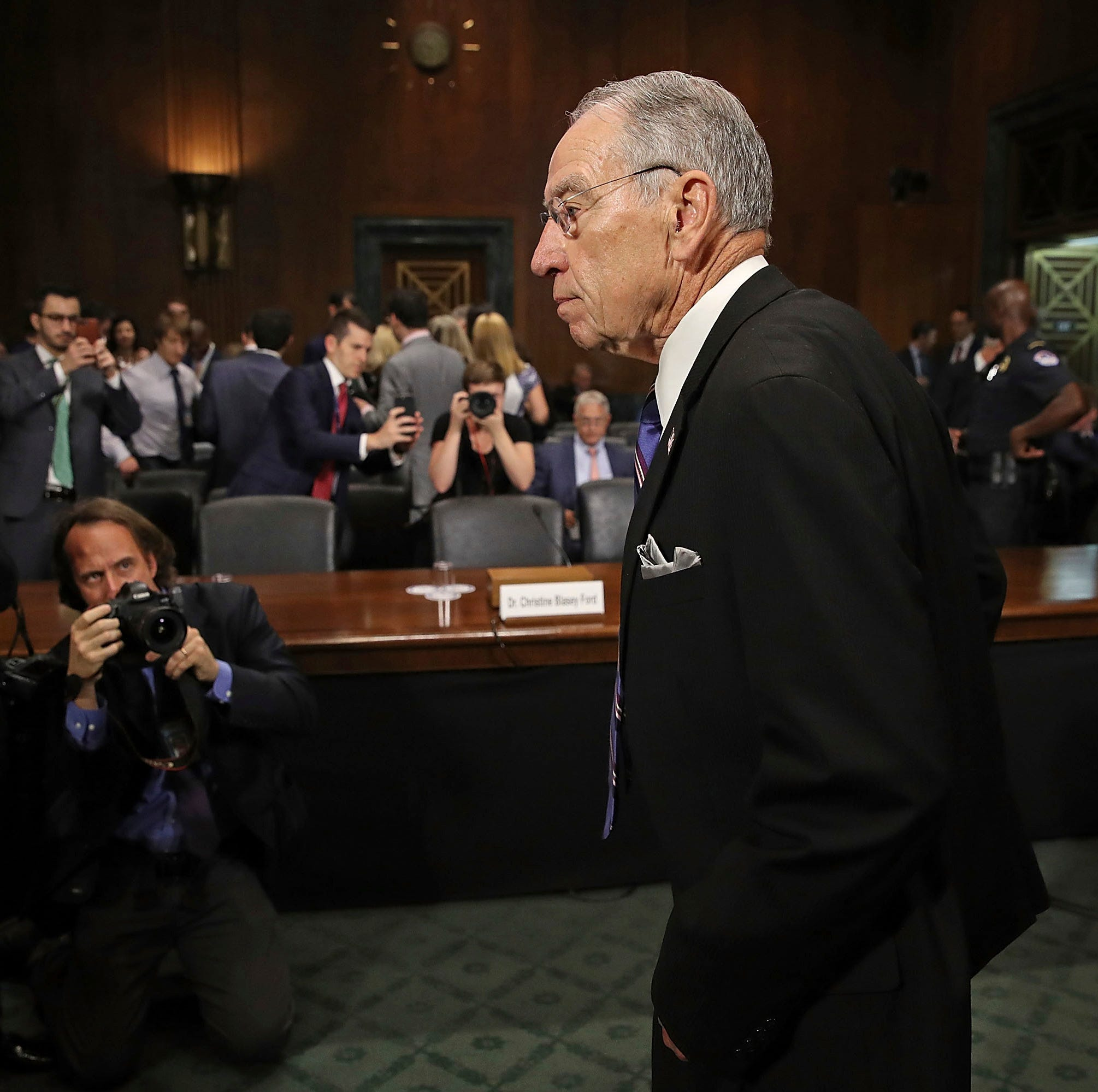 Senate Judiciary Committee Chairman Chuck Grassley, R-Iowa, arrives at the Senate Judiciary Committee hearing, Thursday, Sept. 28, 2018 in Washington.  The Senate Judiciary Committee will hear from Supreme Court nominee Brett Kavanaugh and Christine Blasey Ford, the woman who says he sexually assaulted her. (Win McNamee/Pool Photo via AP)