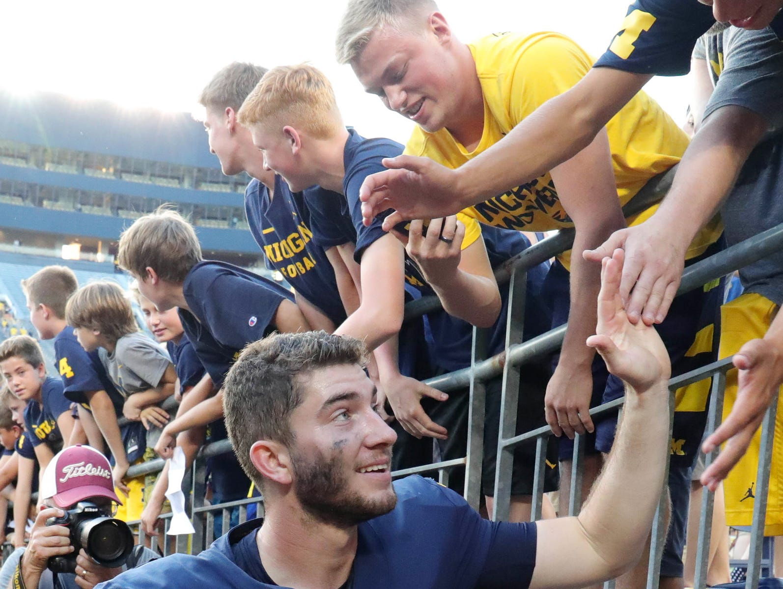 Michigan quarterback Shea Patterson leaves the field after the 45-20 win over SMU Saturday, September 15, 2018 at Michigan Stadium, in Ann Arbor, Mich.