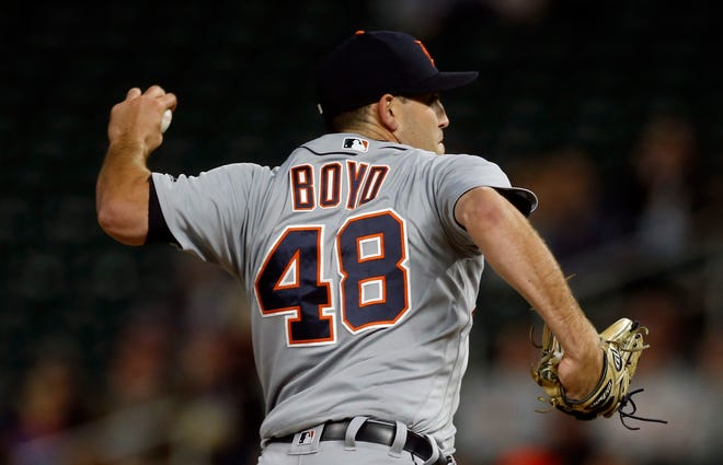 Detroit Tigers pitcher Matthew Boyd throws to a Minnesota Twins batter during the first inning on Wednesday in Minneapolis.