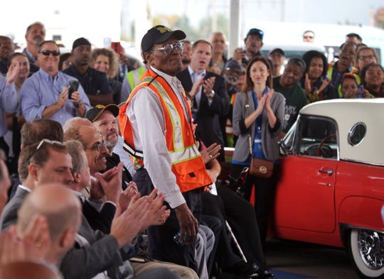 Long-time Ford Rouge Plant employee Willie Fulton is acknowledged for his 65 years working for Ford during the Rouge 100 celebration of 100 years of production at the Ford Rouge Plant in Dearborn on Thursday, September 27, 2018.