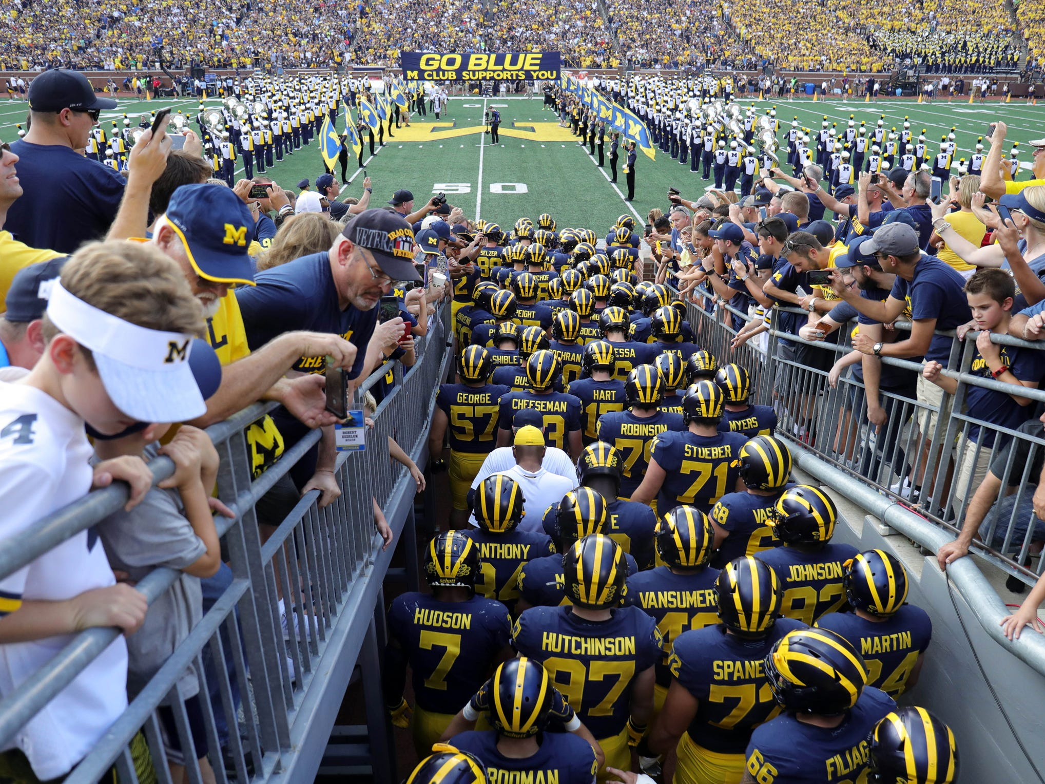 Michigan takes the field before action against SMU on Saturday, Sept. 15, 2018 at Michigan Stadium, in Ann Arbor.