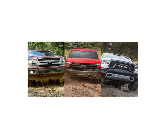 From left, 2018 Ford F-150, 2019 Chevrolet Silverado and 2019 Ram 1500