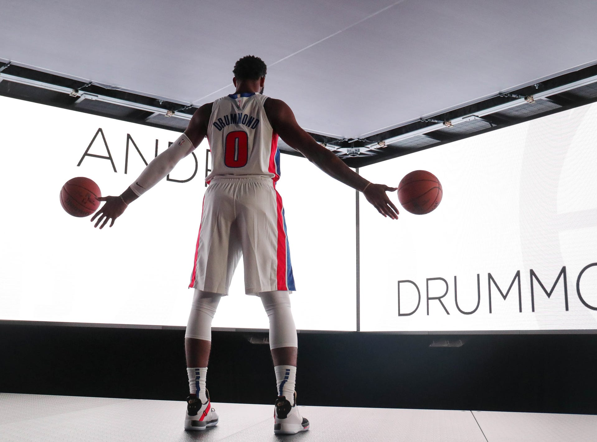 Detroit Pistons center Andre Drummond posed for pictures during Media Day held at Little Caesars Arena in Detroit Monday, September 24, 2018.