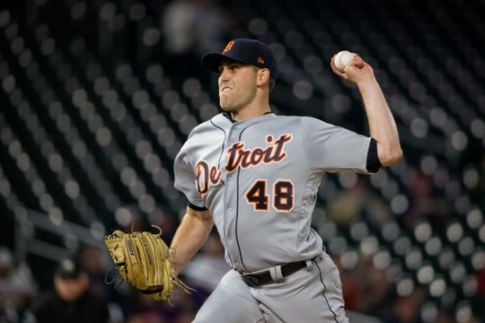Detroit Tigers starting pitcher Matthew Boyd (48) pitches in the first inning against the Minnesota Twins at Target Field on Sept. 26, 2018.