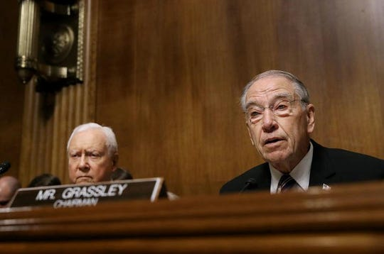 Senate Judiciary Committee Chairman Charles Grassley (R-IA) (R) delivers an opening statement before hearing from Christine Blasey Ford during a hearing with Sen. Orrin Hatch (R-UT) in the Senate Judiciary Committee in the Dirksen Senate Office Building on Capitol Hill September 27, 2018 in Washington, DC.