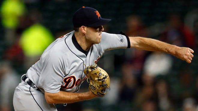 Detroit Tigers pitcher Matthew Boyd throws against the Minnesota Twins in the first inning.