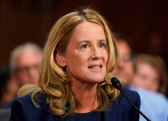 """Christine Blasey Ford testified that Brett Kavanaugh trapped her on a bed and tried to undress her, grinding his body against her and muffling her cries with her hand. """"I believed he was going to rape me,"""" she said in her opening statement."""