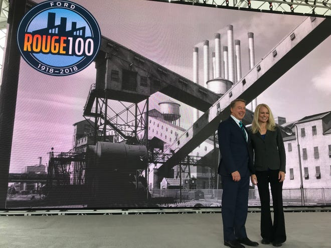 Ford Motor Co. Executive Chairman Bill Ford Jr. poses with Ford Rouge Plant Manager Debbie Manzano Thursday, Sept. 27, 2018 at the celebration for 100 years of manufacturing at the Rouge complex.