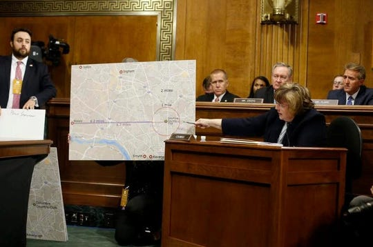 Phoenix prosecutor Rachel Mitchell, ask questions to Christine Blasey Ford at the Senate Judiciary Committee hearing, Thursday, Sept. 27, 2018 on Capitol Hill in Washington.