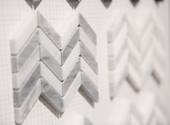 Mini chevron stone tile samples from Ciot at the Dish and Design Kitchen Trends Event at EuroAmerica Design in Troy, Mich. on Sept. 26, 2018.