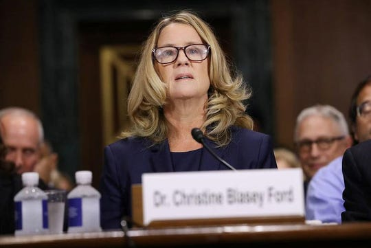 Christine Blasey Ford prepares to testify before the Senate Judiciary Committee in the Dirksen Senate Office Building on Capitol Hill September 27, 2018 in Washington, DC.