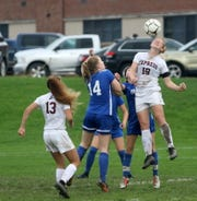 Caylee Boorse of Elmira goes up for a header during a 4-0 girls soccer win over Horseheads on Sept. 27, 2018 at Horseheads High School.