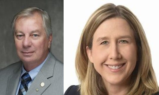 State Sen. Jim Tomes, left, and Edie Hardcastle, right.