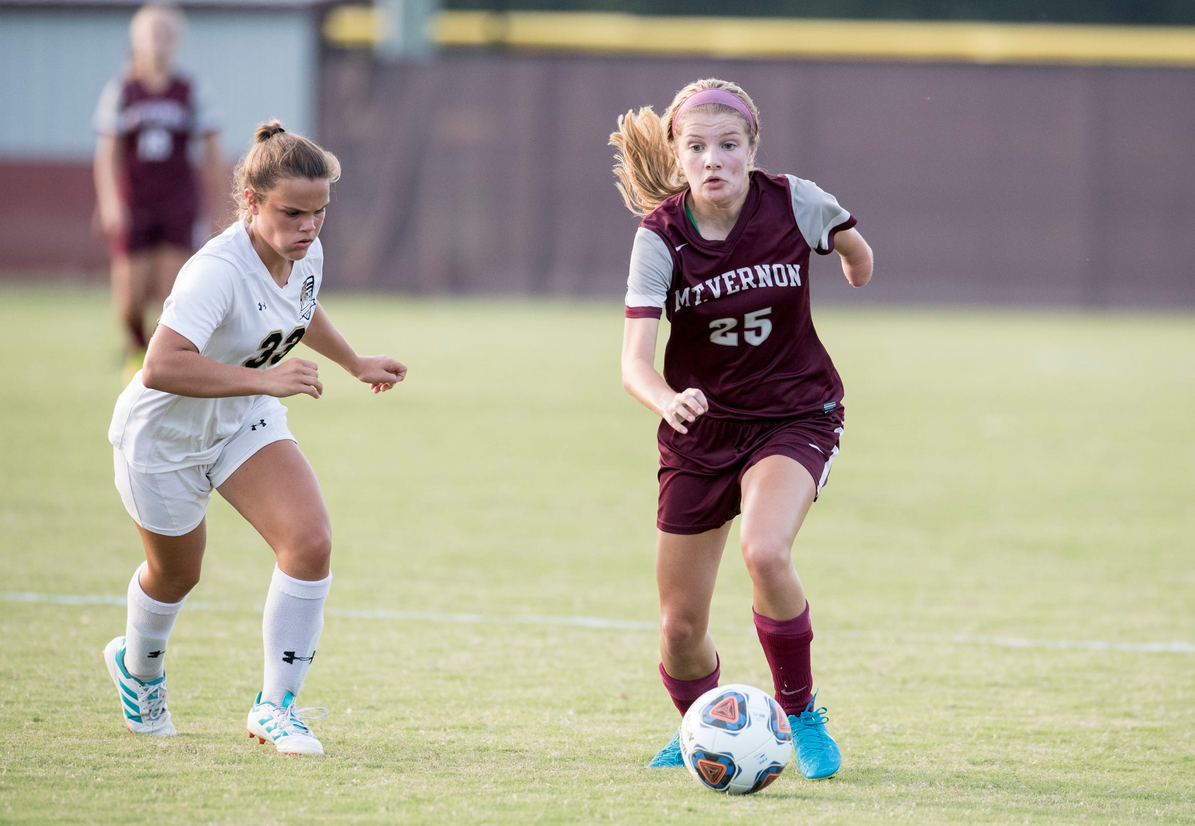 Kenzie Paul, a Junior at Mt. Vernon high school, plays forward for the girls varsity soccer team Sept. 19, 2018.