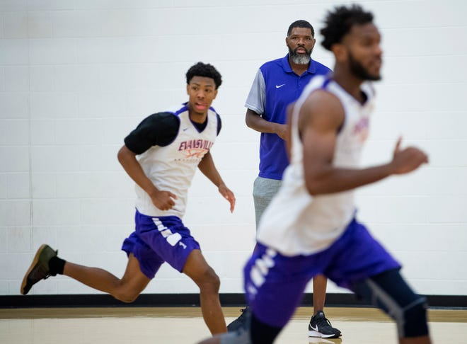 First-year University of Evansville men's basketball head coach Walter McCarty runs the first official practice of the year at the UE's Carson Center Thursday morning.