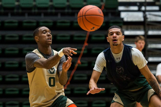 Colorado State University junior guard Hyron Edwards, left, is expected to make his debut on Sunday after sitting out the first semester due to NCAA rules after transferring from Texas Tech.