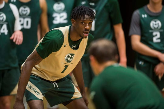 Colorado State University junior forward Zo Tyson (1) participates in a drill during CSU's first practice of the 2018-2019 season on Thursday, Sept. 27, 2018, at Moby Arena in Fort Collins, Colo.