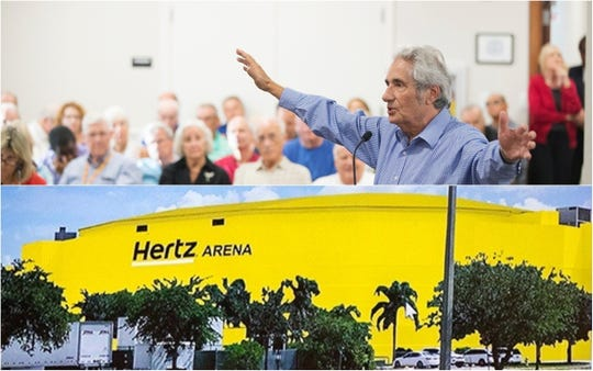 Estero residents speak against Hertz's plans to paint Germain Arena yellow during a design review board meeting on Wednesday at Estero Village Hall.
