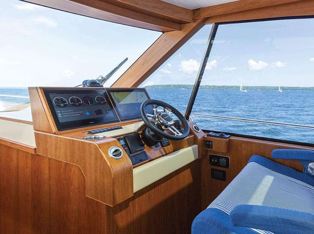 """Burger Boat Company is vying for """"Coolest Thing Made in Wisconsin"""" right now. Here's a look at a Burger 48 Cruiser, the Blue Boat Home, that the Manitowoc company delivered to a customer in June."""