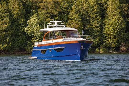 "Burger Boat Company is vying for ""Coolest Thing Made in Wisconsin"" right now. Here's a look at a Burger 48 Cruiser, the Blue Boat Home, that the Manitowoc company delivered to a customer in June."