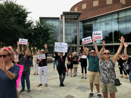 A rally to show solidarity with victims of sexual assault was held Thursday in Graham Plaza.