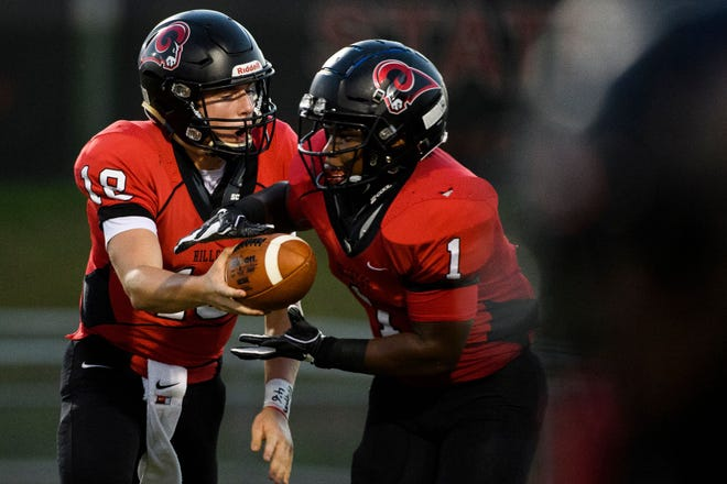 Quarterback Will Watts (18), running back Collin Whitfield (1) and the Hillcrest Rams will be seeking their first victory against Gaffney when they play the Indians Friday night.
