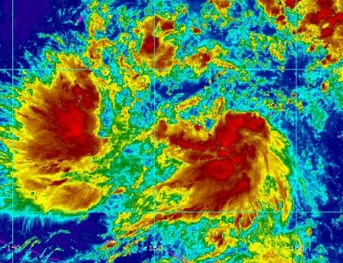 This colorized satellite photo, from the National Weather Service website, shows the weather system that is expected to pass through the Marianas this weekend.
