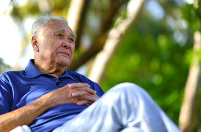 War survivor and local businessman, Eduardo Camacho, recounts a mix of memories of how life was on Guam, before and during the Japanese occupation, as well as the liberation by American armed forces during World War II, as he sits outside his family's home in Tamuning on Wednesday, July 25, 2018.