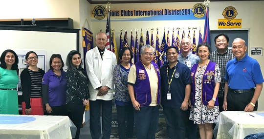 Dr. John Taitano, fifth from left, presented Guam Tano'Ta Branch Club's mobile health screening van/clinic project to the members of the Guam Diabetes Control Coalition at their meeting held on September 25 at the Lions Club District 204 Office in Tamuning. The proposed mobile van/clinic would provide free screening services such as vision, blood sugar, and blood pressure to the underprivileged and under served in Guam's villages. Pictured from left: Patricia Camacho Hughes, executive director-Staywell Guam Diabetes Foundation; Hope Evangelista, health management-Staywell; Grace Bordallo, Guam Diabetes Control Coalition; Jessica Lizama, health management - Staywell; Dr. John Taitano, president, Guam Tano-Ta Branch Club; Arcy Castillo, DPHSS; LCI District 204 Governor Danny Cruz; Pat Luces, DPHSS; Chuck Tanner, Sen. Rodriguez' Office; Sumie Kuba, LCI District 204 second VDG; Ben Estavillo - Guam Super Shopper; and Pete Babauta, president, Guam Sunshine Lions Club.