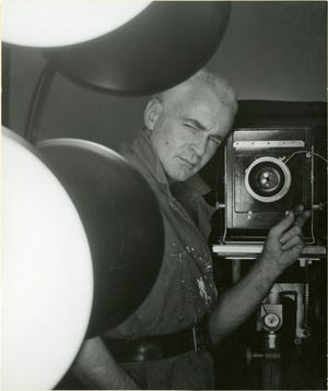 """George Platt Lynes (American, 1907Ð1955), Self-Portrait, 1952, gelatin silver print, 7-5/8 ? 9 in. """"Sensual / Sexual / Social:  The Photography of George Platt Lynes"""" exhibit will be at Newfields, Sept. 30, 2018 through Feb. 24, 2019.  Photo is from the Collections of the Kinsey Institute, Indiana University.  © Estate of George Platt Lynes."""