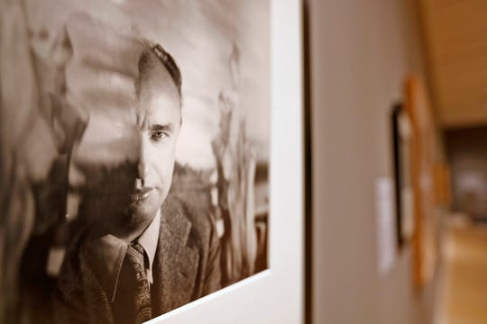 This is a photo of Yves Tanguy taken in 1945, by George Platt Lynes, seen at the George Platt Lynes exhibit at Newfields, Wednesday, Sept. 26, 2018.  This gelatin silver print is from the Collections of the Kinsey Institute, Indiana University.  Lynes gained fame as a commercial and ballet photographer in the 1930s and 1940s, but he wanted to be known for the male nudes he captured of the male ballet dancers and others.  The exhibit runs Sept. 30, 2018 through Feb. 24, 2019.
